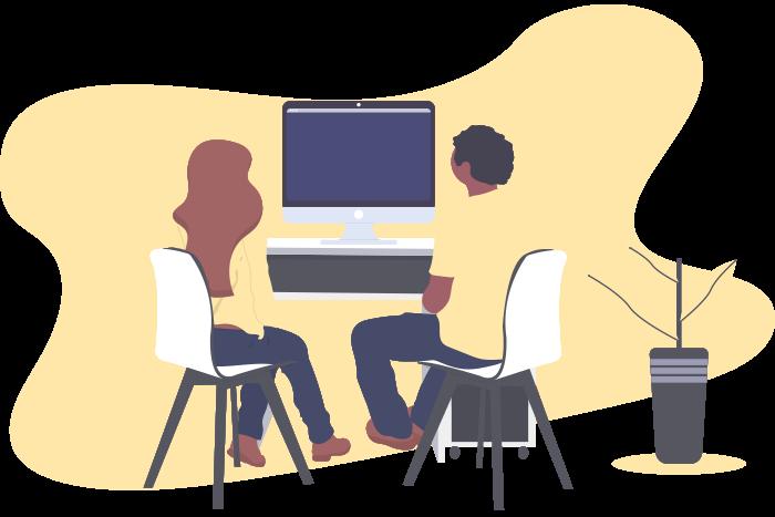 Web-Designer und Kunde besprechen gemeinsam die zukünftige Website