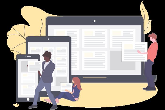 Eine moderne Website sollte auf Computern, Mobiltelefonen und Tablets gut lesbar sein.